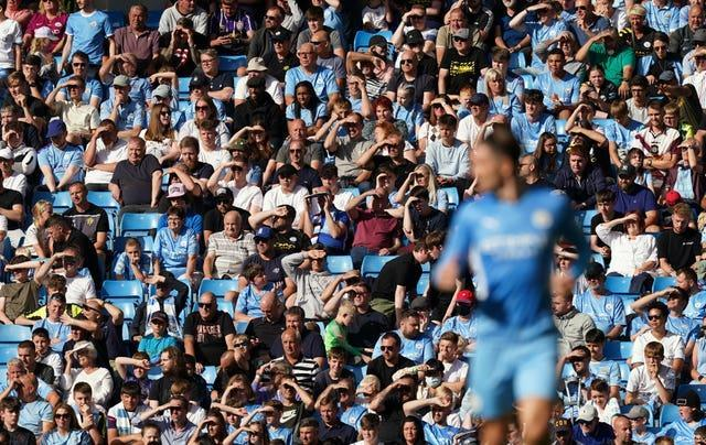 Manchester City fans watch the action against Southampton
