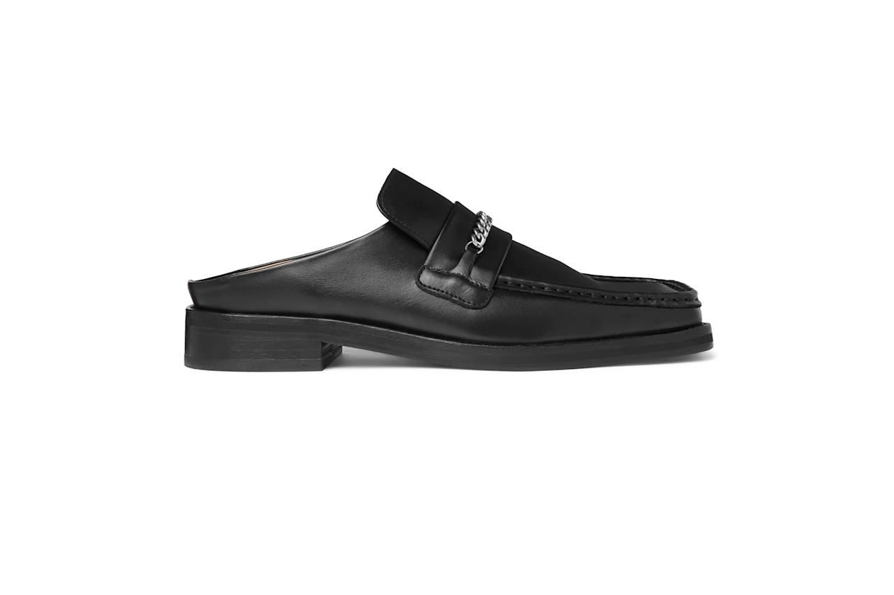 "$465, Mr Porter. <a href=""https://www.mrporter.com/en-us/mens/product/martine-rose/loafers/embellished-leather-backless-loafers/16174186156248603"">Get it now!</a>"