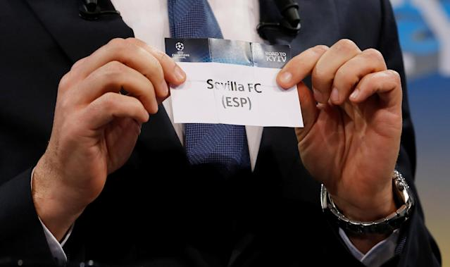 Soccer Football - Champions League Quarter-Final Draw - Nyon, Switzerland - March 16, 2018 Andriy Shevchenko draws Sevilla REUTERS/Pierre Albouy
