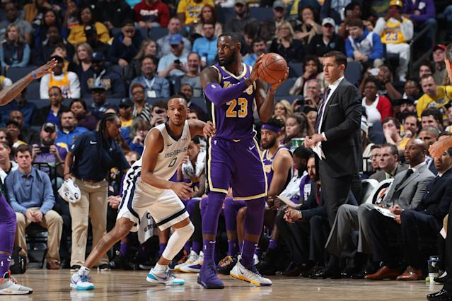 Despite a historic night for LeBron James, who finished with a triple-double, the Lakers still fell to the Memphis Grizzlies. (Joe Murphy/Getty Images)