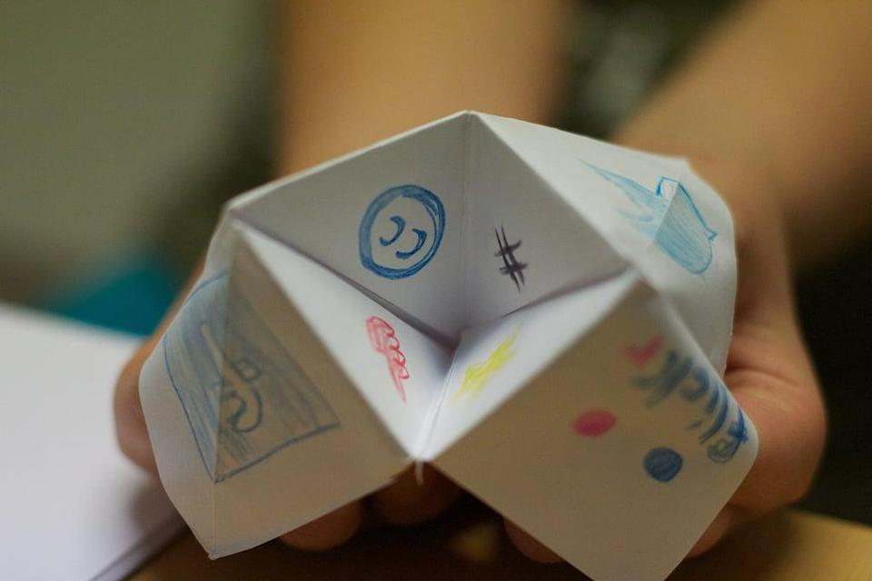 "<p>Make fortune tellers (otherwise known as cootie catchers) like these ones by <a href=""http://www.5orangepotatoes.com/blog/2010/03/09/cootie-catcher-nature-game/#utm_source=feed&amp;utm_medium=feed&amp;utm_campaign=feed"" class=""link rapid-noclick-resp"" rel=""nofollow noopener"" target=""_blank"" data-ylk=""slk:5 Orange Potatoes"">5 Orange Potatoes</a>.</p>"