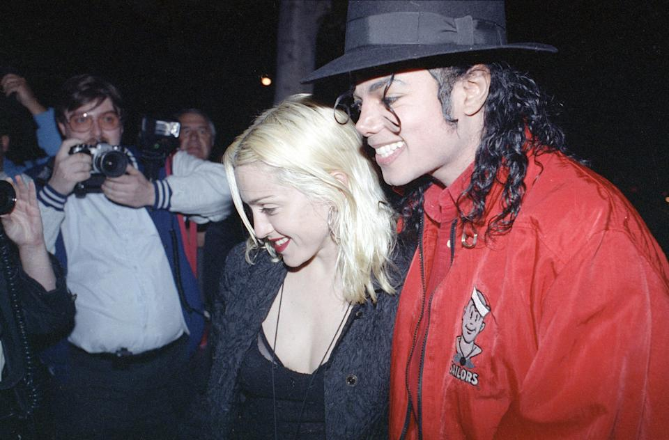 Pop superstars Madonna and Michael Jackson went out for dinner together at a restaurant in Los Angeles Tuesday night, April 10, 1991. (AP Photo/Kevork Djansezian)