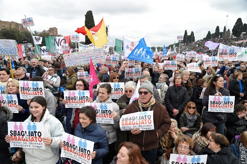 "Thousands of demonstrators holding placards reading ""wrong and wrong"" take part in the 'Family Day' rally at the Circus Maximus arena in Rome, on January 30, 2016"