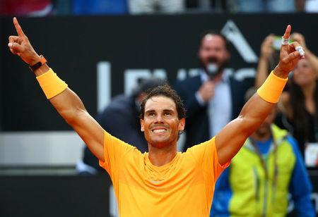 FILE PHOTO: Tennis - ATP World Tour Masters 1000 - Italian Open - Foro Italico, Rome, Italy - May 20, 2018 Spain's Rafael Nadal celebrates winning the final against Germany's Alexander Zverev REUTERS/Tony Gentile