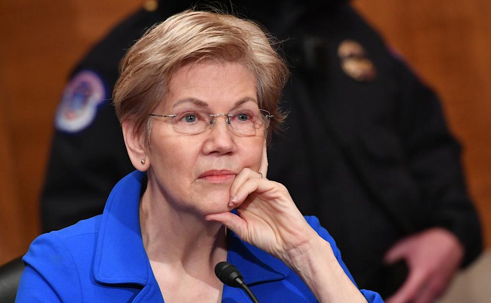 WASHINGTON, DC - FEBRUARY 04: Senator Elizabeth Warren (D-MA) listens during the confirmation hearing for Marty Walsh, nominee for U.S. Labor Secretary, before the Senate Health, Education, Labor, and Pensions Committee in the Dirksen Senate Office Building on Capitol Hill February 4, 2021 in Washington, DC. If confirmed, Walsh would leave his position as Mayor of Boston. (Photo by Mandel Ngan-Pool/Getty Images)
