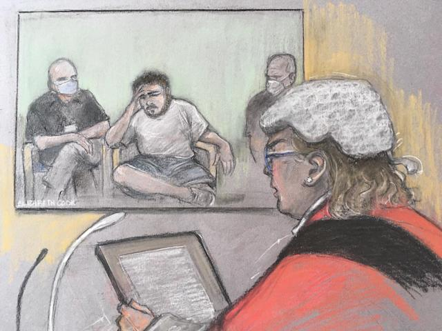 Court artist sketch of Jonty Bravery being sentenced by Mrs Justice McGowan as he appeared in court at the Old Bailey via videolink. (PA)
