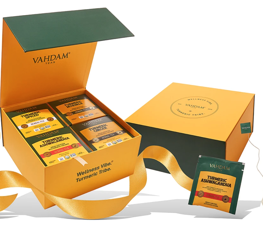 """<h2>Vahdam Organic Turmeric Wellness Detox Box</h2><br>These turmeric teas are here to upgrade your health regime with four vibrant flavors and lots of essential nutrients. Order dad a one-time purchase of these superfood herbal blends that may arrive on time (no promises), OR let him look forward to a monthly dose of wellness with a new subscription.<br><br><em>Shop</em> <strong><em><a href=""""https://www.vahdamteas.com/"""" rel=""""nofollow noopener"""" target=""""_blank"""" data-ylk=""""slk:Vahdam"""" class=""""link rapid-noclick-resp"""">Vahdam</a></em></strong><br><br><strong>Vahdam</strong> Organic Turmeric Wellness Detox Box, $, available at <a href=""""https://go.skimresources.com/?id=30283X879131&url=https%3A%2F%2Fwww.vahdamteas.com%2Fproducts%2Fturmeric-wellness-tea-detox-4-turmeric-teas"""" rel=""""nofollow noopener"""" target=""""_blank"""" data-ylk=""""slk:Vahdam"""" class=""""link rapid-noclick-resp"""">Vahdam</a>"""