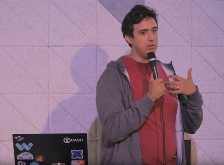 Tezos co-founder Arthur Breitman speaks at an event in London, Britain, September 7, 2017 in this still image taken from video footage provided to Reuters on October 9, 2017.        Monzo/Handout via REUTERS