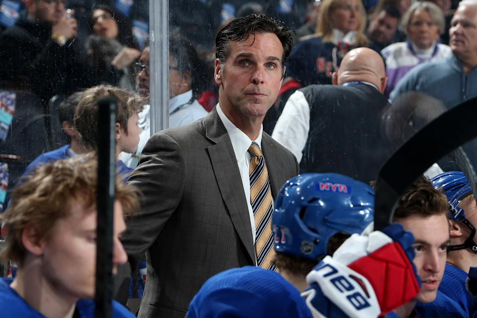 NEW YORK, NY - MARCH 19:  Head coach David Quinn of the New York Rangers looks on from the bench against the Detroit Red Wings at Madison Square Garden on March 19, 2019 in New York City. (Photo by Jared Silber/NHLI via Getty Images)