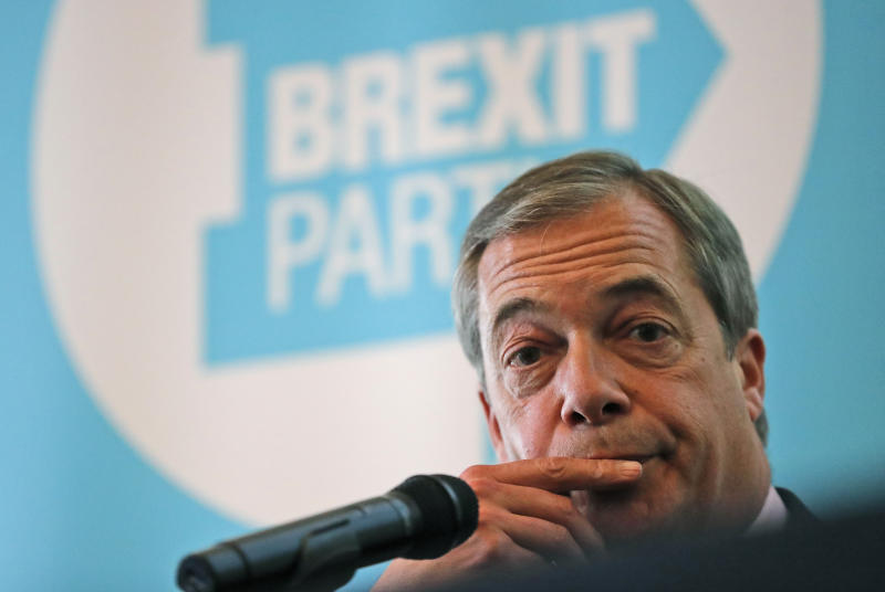 Brexit Party chairman Nigel Farage addresses the media during a news conference focussing on postal votes in London, Monday, June 24, 2019. Farage called for an end to the election postal votes system under its current form. (AP Photo/Frank Augstein)