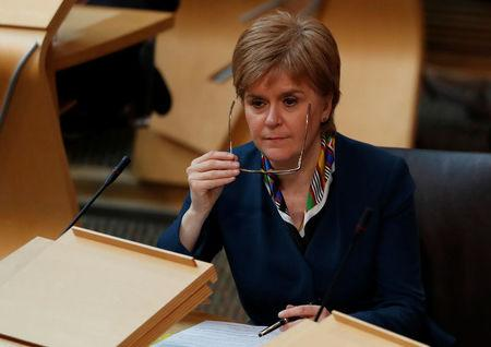 Scotland's First Minister Nicola Sturgeon attends Parliament in Edinburgh