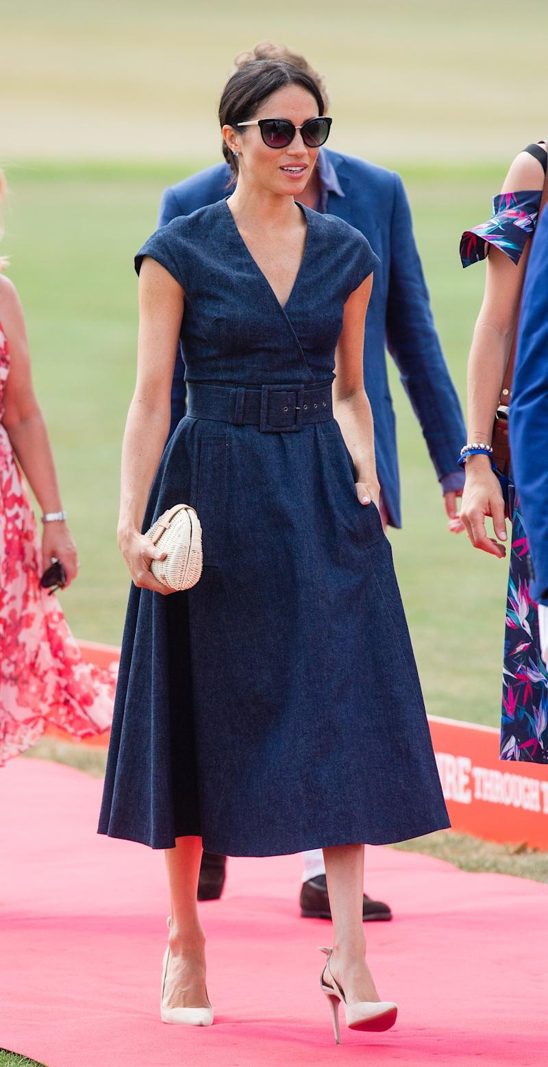Meghan, Duchess of Sussex, visits the Sentebale Polo 2018 of the Royal County of Berkshire Polo Club on July 26, 2018 in Windsor, England