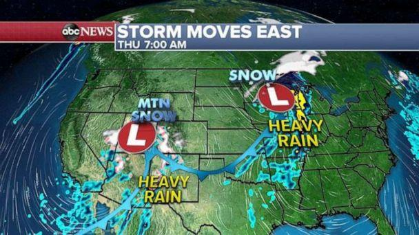 PHOTO: For the rest of today, heavy snow will continue in the Rockies, especially in the Colorado Rockies with snow even flying in Denver. (ABC News)