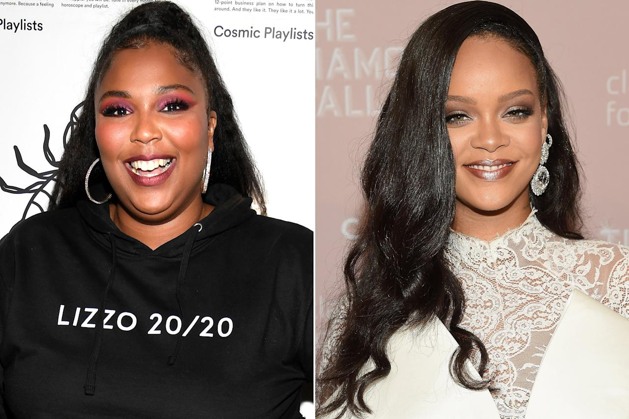 """The """"Truth Hurts"""" singer revealed to <em>Entertainment Tonight</em> that <a href=""""https://people.com/music/lizzo-reveals-nsfw-compliment-rihanna-gave-her-instagram-dm/"""">Rihanna slid into her DMs</a> recently to send her a NSFW congratulatory note.  """"She said I f----- the stage like it was my side b----,"""" Lizzo told <em>ET</em>.  """"Don't get mad, Rihanna. I am not trying to blow up your spot, but that was a hard ass line! I might take that line,"""" she added.  Rihanna has continued expressing her admiration for the star, including the time she spoke to <em>ET</em> at her Savage x Fenty New York Fashion Week show.  """"Gosh I love Lizzo. She's so badass,"""" Rihanna told <a href=""""https://www.etonline.com/rihanna-says-shed-love-to-collab-with-badass-lizzo-she-is-everything-that-savage-stands-for-132189""""><em>ET</em></a>. """"She is everything that Savage stands for. A confident woman, no matter what size, color, shape."""""""