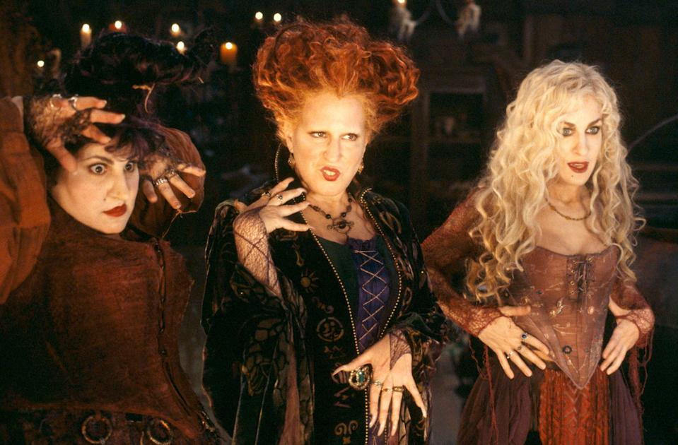 "<p>For many, the spooky season doesn't truly begin until they've viewed this classic Halloween movie starring Kathy Najimy, Bette Midler, and Sarah Jessica Parker. The three play the Sanderson sisters, a trio of comically villainous witches who are accidentally resurrected on Halloween night.</p> <p><a href=""https://www.glamour.com/story/freeform-nights-of-halloween-schedule?mbid=synd_yahoo_rss"" rel=""nofollow noopener"" target=""_blank"" data-ylk=""slk:Available to watch on Freeform's 31 Nights of Halloween"" class=""link rapid-noclick-resp""><em>Available to watch on Freeform's 31 Nights of Halloween</em></a></p>"
