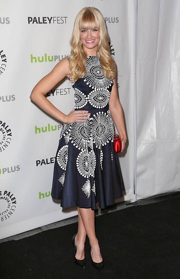 "Beth Behrs attends the 30th Annual PaleyFest featuring the cast of ""2 Broke Girls"" at the Saban Theatre on March 14, 2013 in Beverly Hills, California."