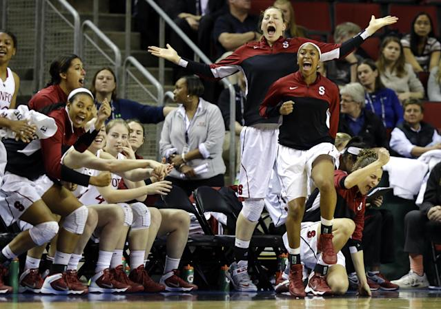 Stanford players celebrate on the bench in the second half of an NCAA college basketball game against Colorado in the second round of the Pac-12 women's tournament, Friday, March 7, 2014, in Seattle. Stanford beat Colorado, 69-54. (AP Photo/Ted S. Warren)