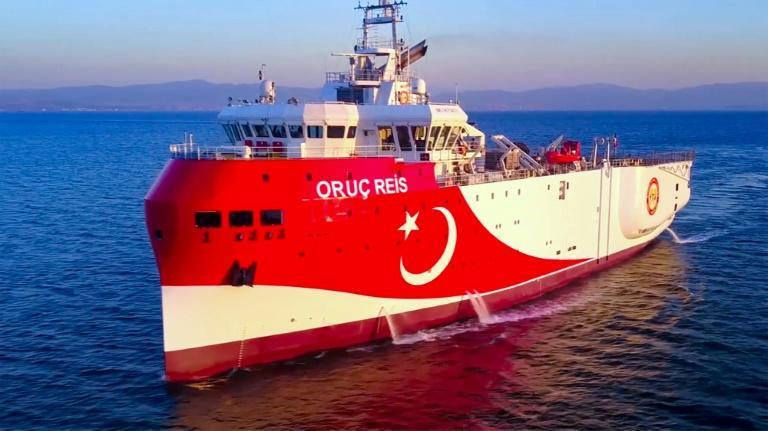 The Turkish seismic research vessel 'Oruc Reis' has been exploring for gas deposits in the Mediterranean Sea