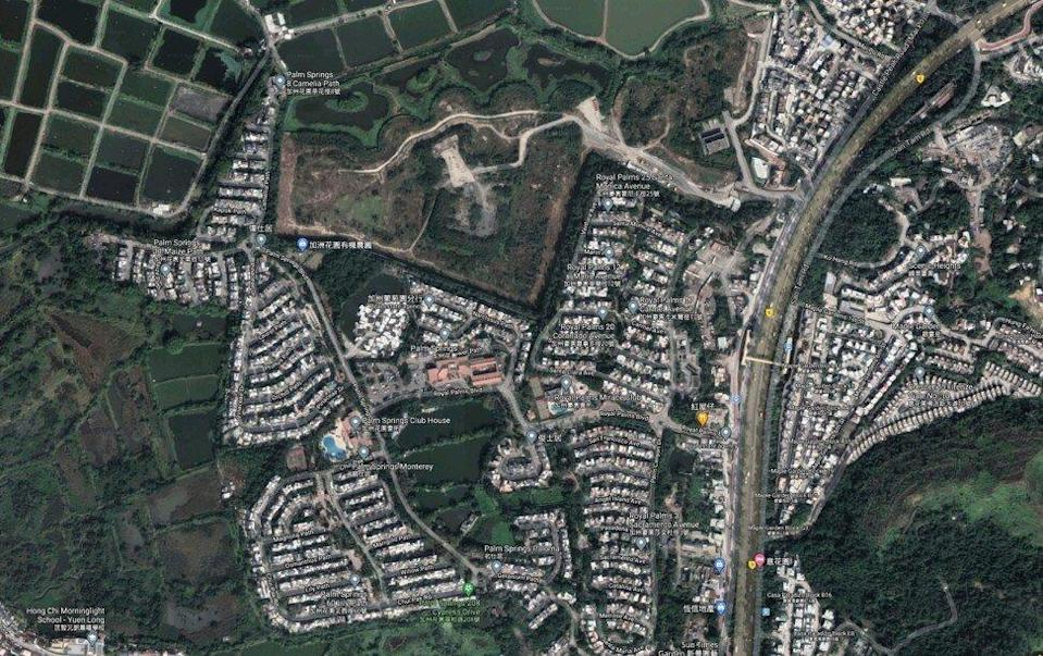 A Google Maps satellite image of the area around Wo Shang Wai in Yuen Long, including Palm Springs and Lots 43 S.A RP, 50 S.A and 50 RP in D.D.101. The Evergrande project is in the top left of the photo. Photo: Google Map