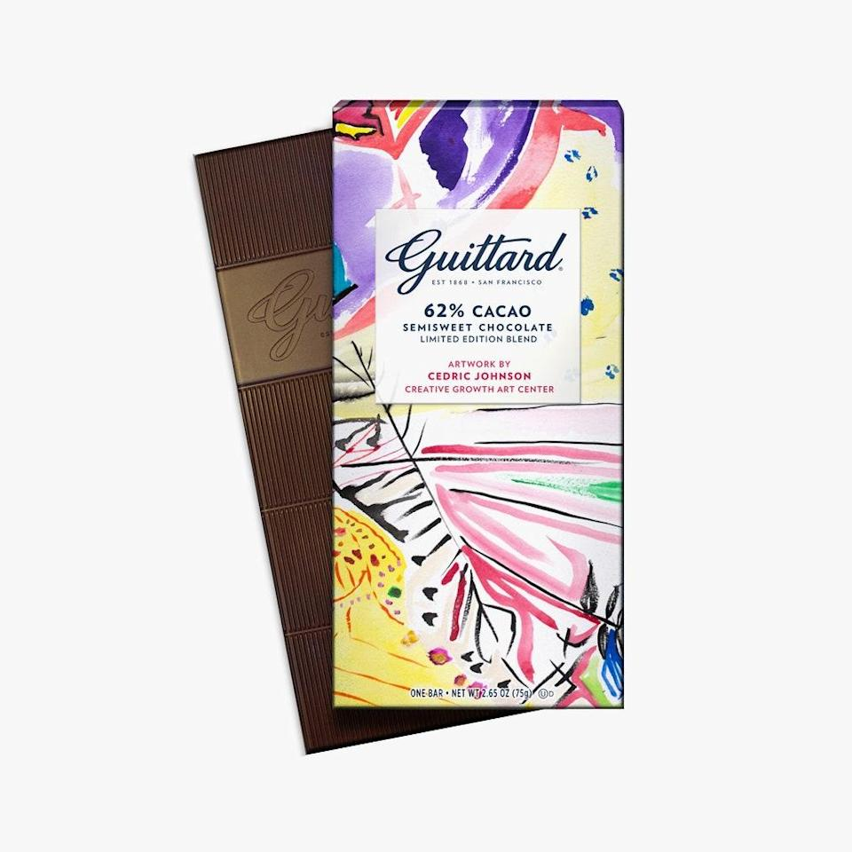 """This bar of Guittard chocolate features artwork from Cedric Johnson. Sales will go to the Creative Growth Art Center, a non-profit that supports artists with developmental, intellectual, and physical disabilities. It is, by all means, a very sweet gift. $9, Guittard. <a href=""""https://www.guittard.com/our-chocolate/detail/62-cacao-creative-growth-semisweet-chocolate"""" rel=""""nofollow noopener"""" target=""""_blank"""" data-ylk=""""slk:Get it now!"""" class=""""link rapid-noclick-resp"""">Get it now!</a>"""