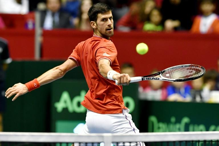 Serbia's Novak Djokovic returns the ball to Spain's Albert Ramos-Vinolas during their Davis Cup World Group quarterfinals single match in Belgrade on April 7, 2017