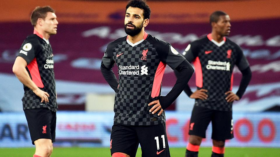 Mohamed Salah, pictured here after Liverpool conceded a seventh goal against Aston Villa.