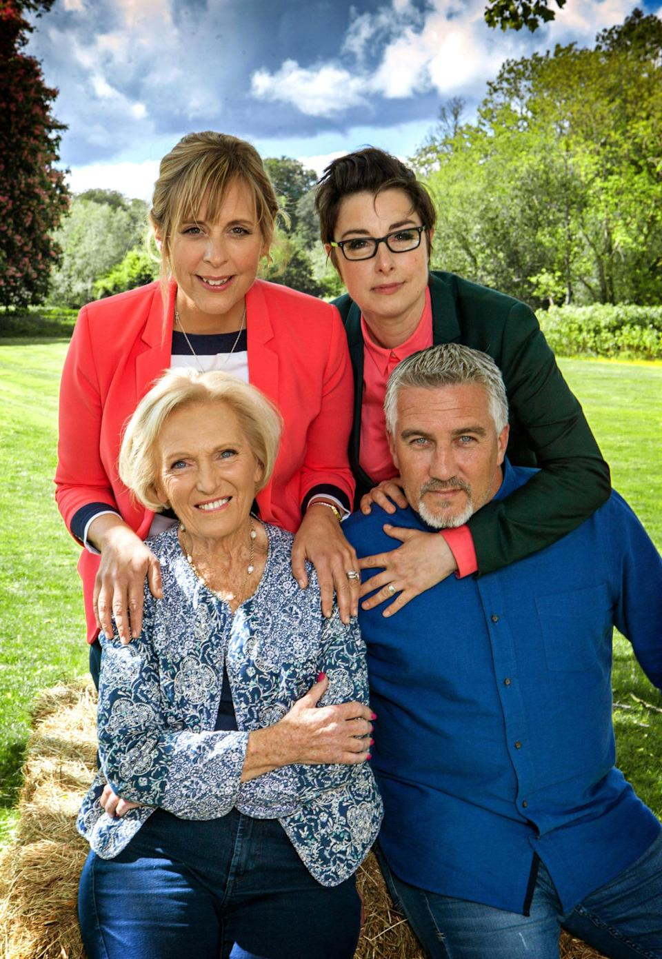 <p>Mary chose a statement jacket in a blue paisley print for the filming of a GBBO episode. </p><p><i>[Photo: BBC] </i></p>