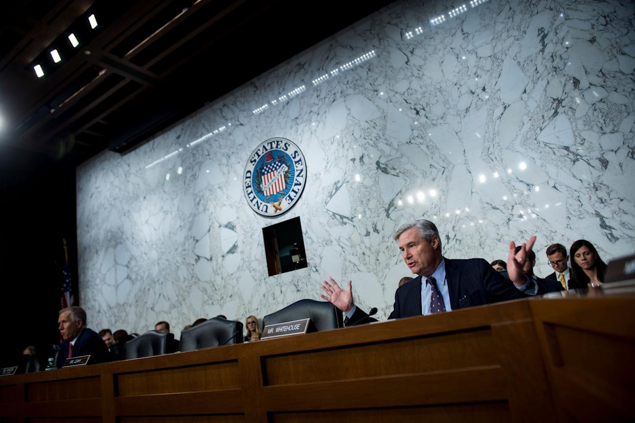 Sen. Sheldon Whitehouse (D-R.I.) questions Supreme Court nominee Brett Kavanaugh as he testifies during a hearing in front of the Senate judiciary committee on Sept. 6. (Photo: Sarah Silbiger/Congressional Quarterly via Getty Images)