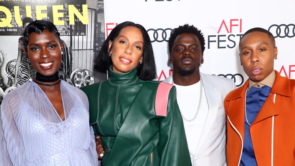 "Jodie Turner-Smith, Melina Matsoukas, Daniel Kaluuya, and Lena Waithe attend the world premiere of ""Queen & Slim"" on November 14, 2019. (Photo by Joe Scarnici/Getty Images for Audi)"