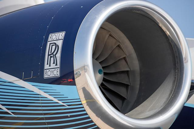 A Rolls Royce aircraft engine on a plane at Albrecht Dürer Airport, Nuremberg, Germany. (Daniel Karmann/picture alliance via Getty Images)