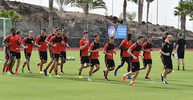 "<span class=""element-image__caption"">Liverpool during warm-weather training in Tenerife last week.</span> <span class=""element-image__credit"">Photograph: Andrew Powell/Liverpool FC via Getty Images</span>"