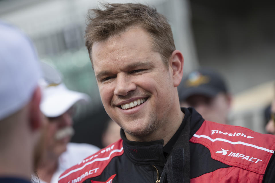 INDIANAPOLIS, IN - MAY 25: Matt Damon is seen as he waits on his IndyCar Experience ride at the Indianapolis Motor Speedway on May 25, 2019 in Indianapolis, Indiana. (Photo by Michael Hickey/Getty Images)