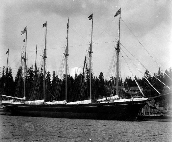 Five-masted lumber schooner George E. Billings shortly after launching, more than a century ago. The Hall Bros. built the 224-foot wooden vessel at Port Blakely, Wash., for their own account in 1903.