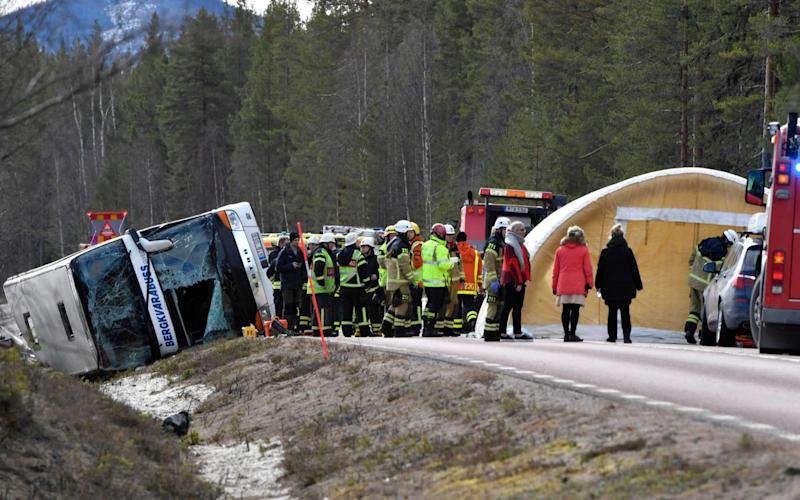 Three people were killed and over a dozen injured, six of them seriously when a bus carrying mostly schoolchildren crashed in central Sweden - Credit: AP