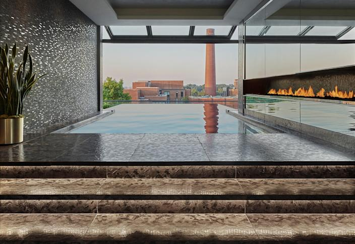 """If you enjoy your rooftop pool with a side of history, consider <a href=""""https://www.cntraveler.com/hotels/united-states/washington-d-c/rosewood-washington-dc?mbid=synd_yahoo_rss"""" rel=""""nofollow noopener"""" target=""""_blank"""" data-ylk=""""slk:this refined option"""" class=""""link rapid-noclick-resp"""">this refined option</a> in the heart of the charming Georgetown neighborhood. It offers views of the <a href=""""https://www.cntraveler.com/activities/washington/washington-d-c/national-mall?mbid=synd_yahoo_rss"""" rel=""""nofollow noopener"""" target=""""_blank"""" data-ylk=""""slk:Washington Monument"""" class=""""link rapid-noclick-resp"""">Washington Monument</a> and <a href=""""https://www.cntraveler.com/activities/washington/john-f-kennedy-center-for-the-performing-arts?mbid=synd_yahoo_rss"""" rel=""""nofollow noopener"""" target=""""_blank"""" data-ylk=""""slk:Kennedy Center"""" class=""""link rapid-noclick-resp"""">Kennedy Center</a>, and thanks to a built-in outdoor fireplace as well as food and beverage service from Wolfgang Puck's CUT Above, this is the perfect place to go for a posh dip in our <a href=""""https://www.cntraveler.com/destinations/washington-dc?mbid=synd_yahoo_rss"""" rel=""""nofollow noopener"""" target=""""_blank"""" data-ylk=""""slk:capital city"""" class=""""link rapid-noclick-resp"""">capital city</a>."""