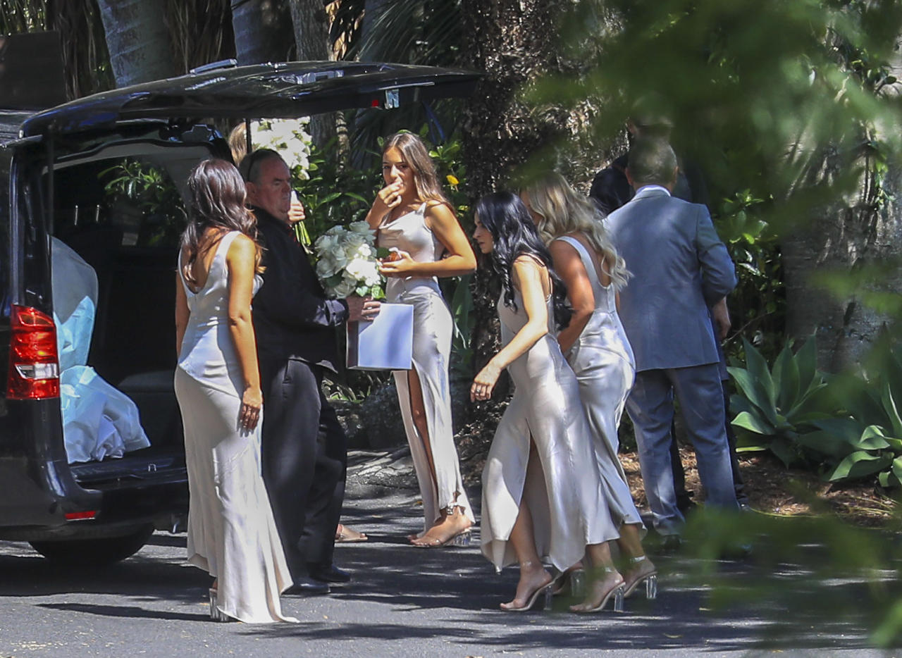 <p>Snezana's 13-year-old daughter was among the bridesmaids who were dressed in beige silk gowns and clear heels. Source: Media Mode </p>