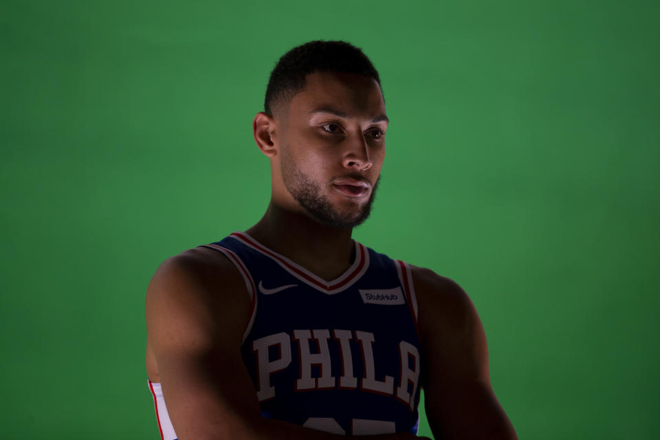 """""""Picture your favorite career 3-pointer."""" — the photographer to Ben Simmons, unknowingly"""