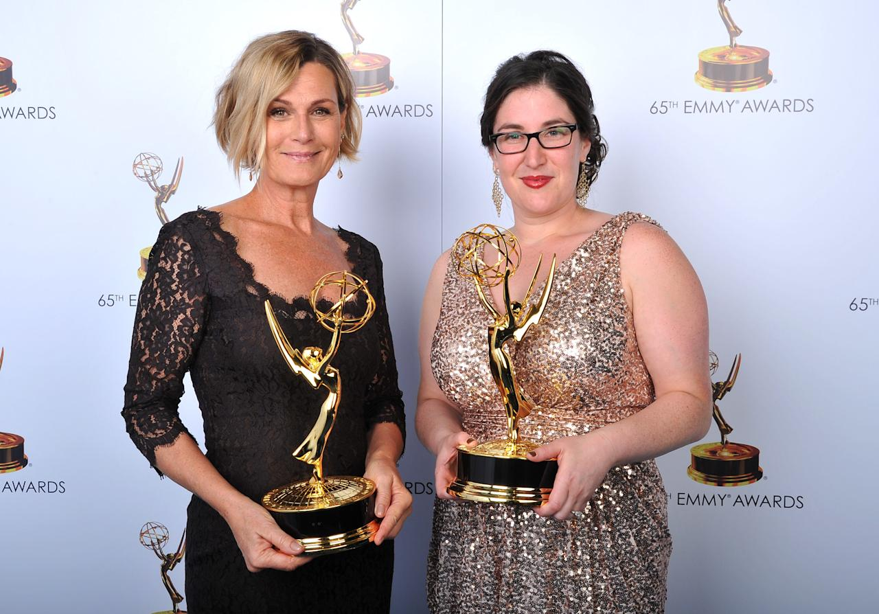 From left, Laray Mayfield and Julie Schubert pose for a portrait at the 2013 Primetime Creative Arts Emmy Awards, on Sunday, September 15, 2013 at Nokia Theatre L.A. Live, in Los Angeles, Calif. (Photo by Vince Bucci/Invision for Academy of Television Arts & Sciences/AP Images)