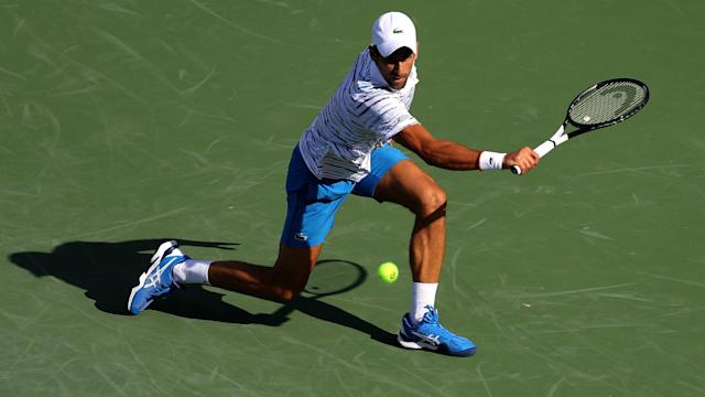 Novak Djokovic – playing for the first time since winning Wimbledon – claimed a 7-5 6-1 victory over Sam Querrey on Tuesday.
