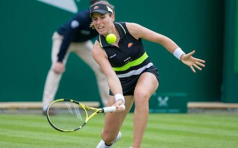 17th June 2019, Edgbaston Priory Club, Birmingham, England ; WTA Nature Valley Classic tennis tournament; Anett Kontaveit (EST) versus Johanna Konta (GBR); Anett Johanna Konta (GBR) drops low to pick up the ball - Credit: Getty Images