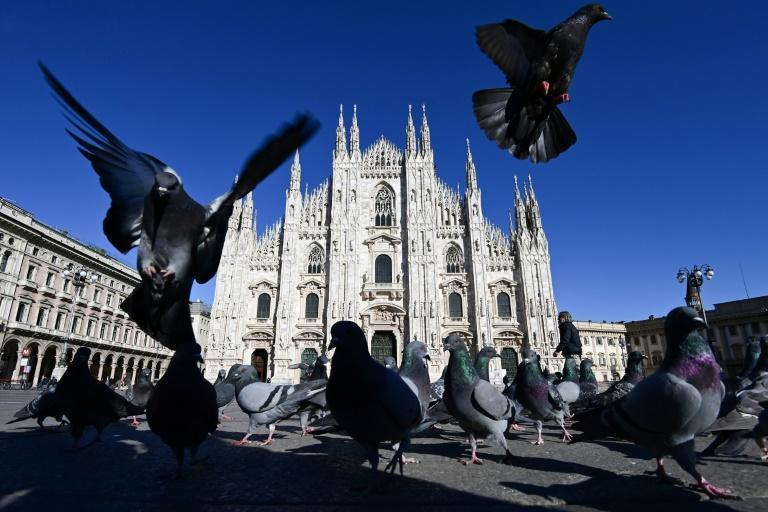 Piazza Duomo in central Milan. Throughout Italy, overnight stays of foreign tourists fell by 54 percent to 184.1 million in 2020 and the outlook for 2021 remains bleak.