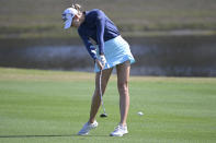 Jessica Korda hits from the seventh fairway during the final round of the Tournament of Champions LPGA golf tournament, Sunday, Jan. 24, 2021, in Lake Buena Vista, Fla. (AP Photo/Phelan M. Ebenhack)