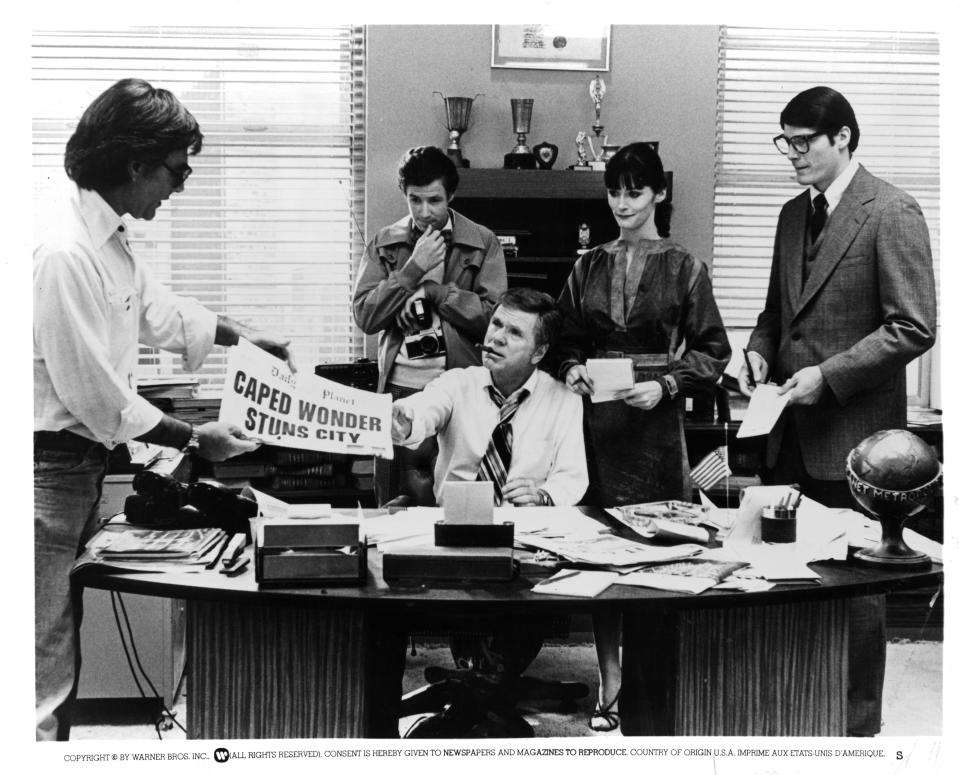 """Director Richard Donner, actors Jackie Cooper, Marc McClure, actress Margot Kidder and Christopher Reeve on set of the Warner Bros movie """"Superman """" in 1978. (Photo by Michael Ochs Archives/Getty Images)"""