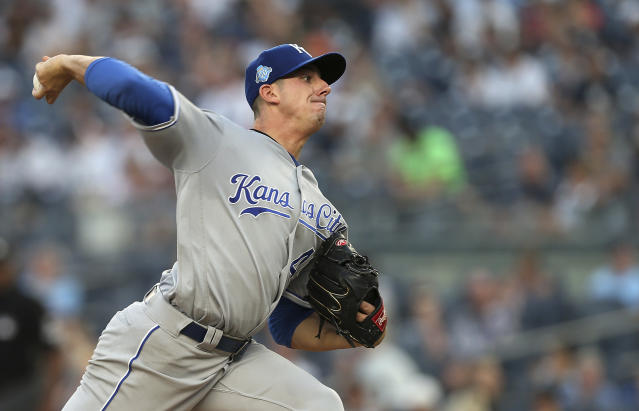 Kansas City Royals' Heath Fillmyer delivers a pitch in the second inning against the New York Yankees during the second baseball game of a doubleheader Saturday, July 28, 2018, at Yankee Stadium in New York. (AP Photo/Rich Schultz)
