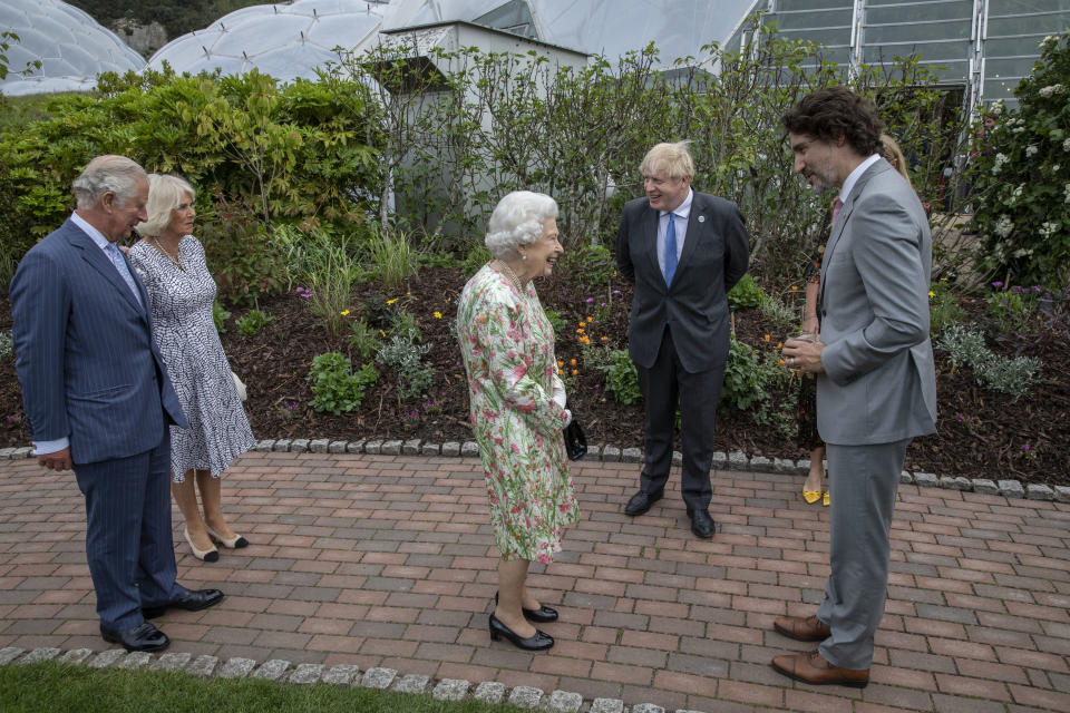 ST AUSTELL, ENGLAND - JUNE 11: Prince Charles, Prince of Wales, Camilla, Duchess of Cornwall, British Prime Minister Boris Johnson, wife Carrie Johnson, Queen Elizabeth II and Canadian Prime Minister Justin Trudeau chat at a drinks reception for Queen Elizabeth II and G7 leaders at The Eden Project during the G7 Summit on June 11, 2021 in St Austell, Cornwall, England. UK Prime Minister, Boris Johnson, hosts leaders from the USA, Japan, Germany, France, Italy and Canada at the G7 Summit. This year the UK has invited India, South Africa, and South Korea to attend the Leaders' Summit as guest countries as well as the EU. (Photo by Jack Hill - WPA Pool / Getty Images)   chat at a drinks reception for Queen Elizabeth II and G7 leaders at The Eden Project during the G7 Summit on June 11, 2021 in St Austell, Cornwall, England. UK Prime Minister, Boris Johnson, hosts leaders from the USA, Japan, Germany, France, Italy and Canada at the G7 Summit. This year the UK has invited India, South Africa, and South Korea to attend the Leaders' Summit as guest countries as well as the EU. (Photo by Jack Hill - WPA Pool / Getty Images)