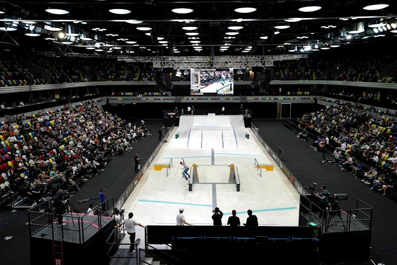 Jorge Simoes during his men's quarter final heat during The Street League Skateboarding World Tour at The Copper Box, London. (Photo by John Walton/PA Images via Getty Images)