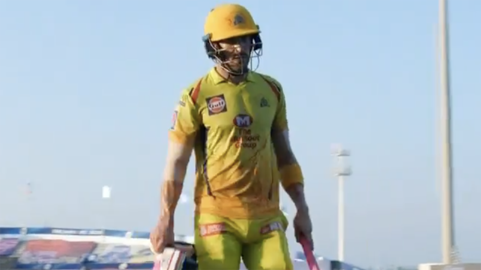 Faf du Plessis walks off the ground after being dismissed for 48 in the Super Kings' successful run chase in the IPL.