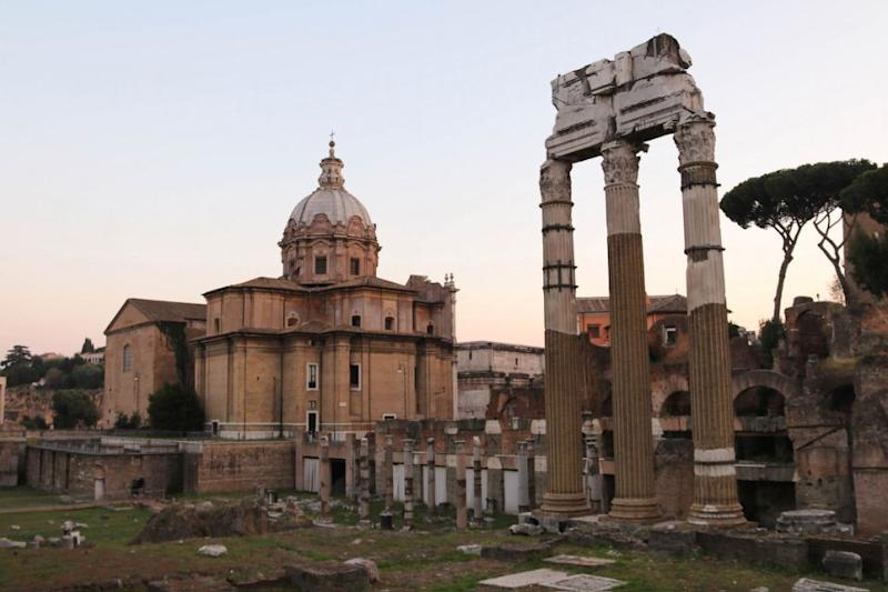 The Roman Forum is a a rectangular plaza surrounded by the the ruins of several important ancient buildings. Source: Holly O'Sullivan