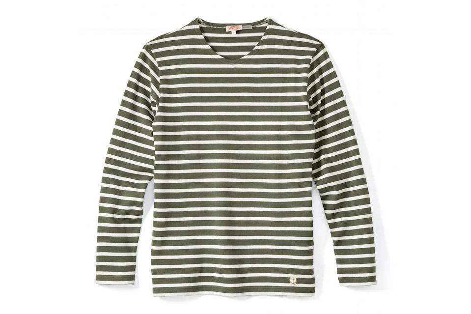 """Whether you wear it under a suit or with your oldest pair of jeans, a nautical stripe shirt will always bring out your most handsome self. Armor-Lux's thick cotton shirts are the most flattering on the market, too.<br> <br> <em>Armor-Lux Breton stripe LS shirt</em> $109, Huckberry. <a href=""""https://huckberry.com/store/armor-lux/category/p/65491-breton-stripe-ls"""" rel=""""nofollow noopener"""" target=""""_blank"""" data-ylk=""""slk:Get it now!"""" class=""""link rapid-noclick-resp"""">Get it now!</a>"""