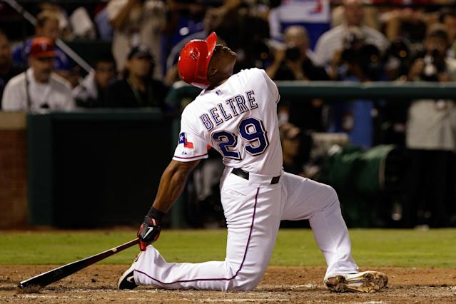 ARLINGTON, TX - OCTOBER 24: Adrian Beltre #29 of the Texas Rangers bats in the fourth inning during Game Five of the MLB World Series against the St. Louis Cardinals at Rangers Ballpark in Arlington on October 24, 2011 in Arlington, Texas. (Photo by Rob Carr/Getty Images)
